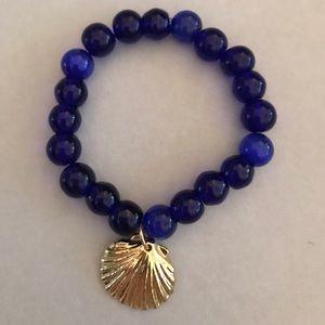 Cobalt Blue Stone with 10k seashell charm